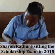 Sharon sitting the scholarship exam in 2015